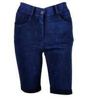 Ladies Navy Blue Skinny Slim Fit Jeans Knee Length Denim Hot Pants Summer Shorts