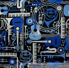 BonEful Fabric FQ Cotton Quilt Black Blue B&W Guitar Music Instrument Blues Band