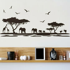 PVC Removable Africa Animal wall sticker Living Bed Room Background Decoration