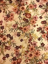 "Floral Printed Nature Jersey Lycra Stretch Dance Fabric 60"" Width Maroon"