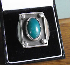 GREEN STONE STERLING SILVER 925 CHUNKY RING JEWELLERY SIZE X