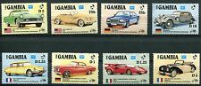 GAMBIA 1986 AMERIPEX CLASSIC AUTOMOBILES - CARS - FLAGS  MINT SET - $6.40 VALUE!