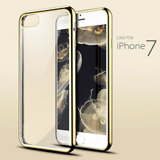 Gold Crystal Clear Soft TPU Gel Shockproof Back Case Cover For iPhone 7 S002