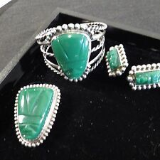 Vintage Taxco Mexican Sterling Silver Pin, Earrings, Bracelet Carved Face Green