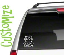Baby Bear Arrows CUSTOM 2 kids Car Sticker Decal family proud mom cubs momma D19