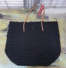 NWT New Merona Target Straw Paper Tote Bag Purse Solid Black $29.99 Retail