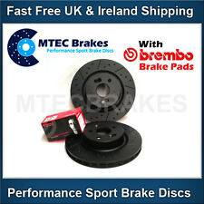 Impreza WRX 2.0 2.5 2000 to 2007 Front Dimpled Grooved Brake Discs Brembo Pads