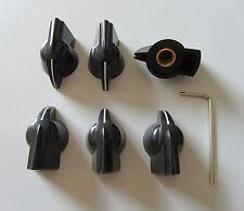 Pack of 6 Vintage set screw Guitar AMP Chicken Head / Effect pointer Knob Black
