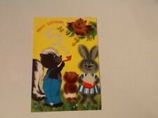 Vintage Greeting Card 5th Birthday Bubbles Skunk Owl Rabbit Bear