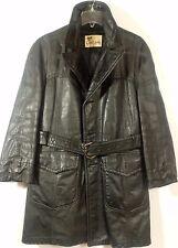 Vintage Lakland Leather Trench Coat Jacket Black sz 42 belted