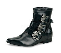DEMONIA  BRO06/B/NPU Men's Black Gothic Skull Buckle Goth Punk Ankle Boots Shoes