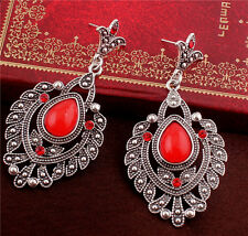 New Fashion Hot Jewelry Teardrop Red Rhinestone Dangle Beautiful Woman Earring