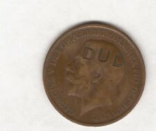 """1911 GB ONE PENNY STAMPED """"DUD"""""""