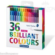 STAEDTLER TRIPLUS FINELINER PENS - Box of 36 assorted colour pens, the full set!