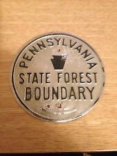 Vintage Pennsylvania State Forest Boundary Sign / Marker