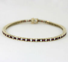 Diamond ruby line bracelet 14K yellow gold round brilliant channel 1.80CT 9.7 GM
