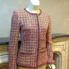 colorful fitted  Chanel jacket-pinks,brown,greens-heavy weight, sz 2-4