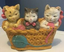 Vintage Cast Iron Door Stop Kittens In Yarn Basket