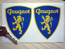 PEUGEOT Classic Lion & Shield Shaped STICKERS 90mm Pair Car Race Rally Racing