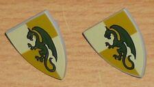 Lego Ritter 2 Schilde mit Drachen (dunkel beige / hell beige)