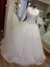 Long Sleeve Muslim Wedding Dresses A-line Appliques White Ivory Bridal Gown Size