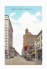 Old San Diego CA California Linen Postcard Broadway  Nice!!