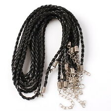 10 New Black Leather Braided Necklace Cords 46cm 130013