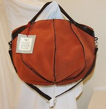 NWT SOFIA C. Dark Orange Lamb Leather Brown Fur LARGE BALLOON Satchel