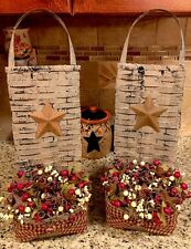 S/2 Wall Hanging Rusty Star Pocket Berries Tuck Sconce Home Decor Country Gather