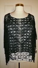 PRETTY ONE WORLD WOMEN'S PLUS SIZE FRINGED LACE PONCHO OVERLAY TOP & TANK Sz 2X
