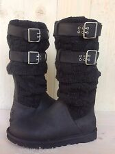 UGG CASSIDEE TALL BLACK LEATHER AND KNIT BUCKLE BOOT WOMENS US 10 NIB