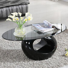 Glass Oval Coffee Table Contemporary Modern Design Living Room Furniture Black