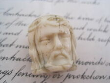 ANTIQUE MEMENTO MORI ROSARY BEAD CARVED JANUS HEAD CHRIST DEATH SKULL C1800