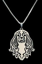 Cavalier King Charles Spaniel Dog Necklace -  Fashion Jewellery - Silver Plated