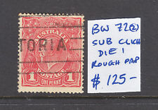 "KGV 1d RED  ""SUB CLICHE""  DIE 1  ROUGH PAPER USED BW 72(2)"