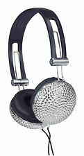 SILVER CRYSTAL DIAMANTE BLING RETRO HEADPHONES