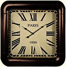 LARGE Vintage Industrial Style Square Brown Metal French Paris Wall Clock NEW