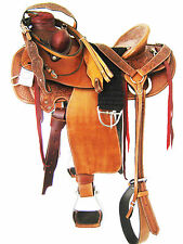 "'THSL' WADE ROPER RANCH SADDLE SET TOOLED/CARVED TAN 17"" HARD SEAT (WLI_005)"