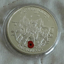 COLOURED POPPY GIBRALTAR 2004 D-DAY LANDINGS SILVER PROOF £5 CROWN