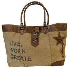 LIVE WORK CREATE CANVAS TOTE Distressed Leather Drop Handles Star Purse Women