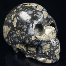 "3"" hand carved natural llanite skull statue stone carving h5050"