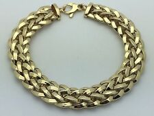 "New 14K Yellow Gold 7.75"" Polished Hollow Wheat Chain Bracelet 13 grams 11.5 mm"