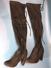 Women's Stretchy Over The Knee Thigh High Draw String Tie Faux Suede Boots Sz 5