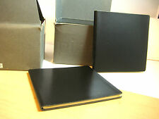 "2  Little Black Leather Address Book by Fine Italian Designer Pinetti 4.5""Sq"