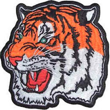Iron On/ Sew On Embroidered Patch Badge Tiger Head Orange Tigers Big Cat