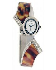 Softech Ladies Diamante Chrome Silver Tortoise Shell Bangle Bracelet Watch