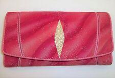 Women's Unique Pink Stingray Leather Wallet Great Condition Card Slots Folding