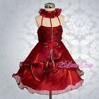 Wedding Flower Girls Pageant Party Occasion Dress Baby Burgundy Size 9M-5 FG144