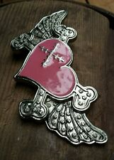 Broken Heart Crossbones Biker Belt Buckle Harley Wings Pink Enamel & Chrome
