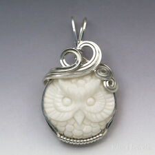 Owl Carved Bone (Bovine) Cameo Sterling Silver Wire Wrapped Pendant